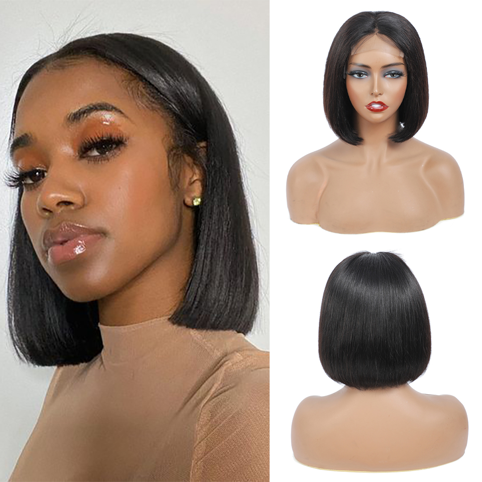 4x4 Bob Lace Closure Wig Indian Straight  for Black Women Straight Bob Lace Front  Wigs Blunt Cut Bob Wig 2