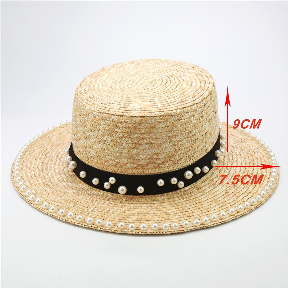 Модные женские соломенные шляпы ручной работы с жемчугом, летняя пляжная шляпа с козырьком 7,5 см, 10 см с полями