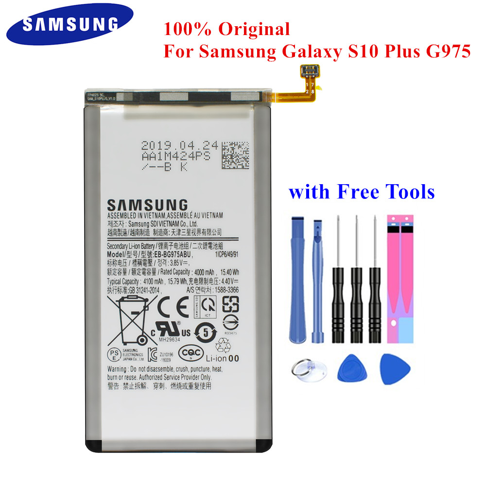 Original Battery EB-BG975ABU For Samsung Galaxy S10 Plus S10+ SM-G975F/DS SM-G975U G975W G9750 4000/4100mAh Genuine Samsung Akku