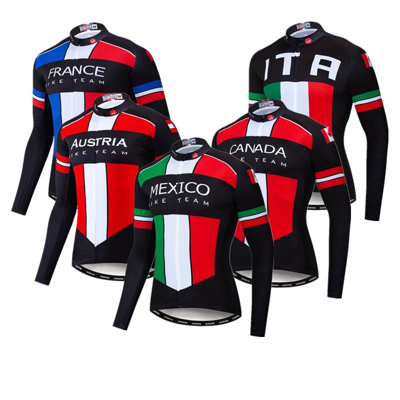 Italy France Mexico Cycling Jersey Long Sleeve Men Pro Team Autumn Bike Clothing Spring Bicycle Clothes Road Cycling Jacket Top