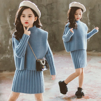 Girls Clothing set Winter Faux-wool Thick Warm Knitted Vest Dress Suit Children Costume Kids Tracksuit 8 10 Years  Girls Clothes