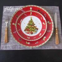 세라믹 크리스마스 트리 레드 라운드 플레이트 요리 쇠고기 디저트 접시 과일 스낵 플레이트 홈 식탁 장식