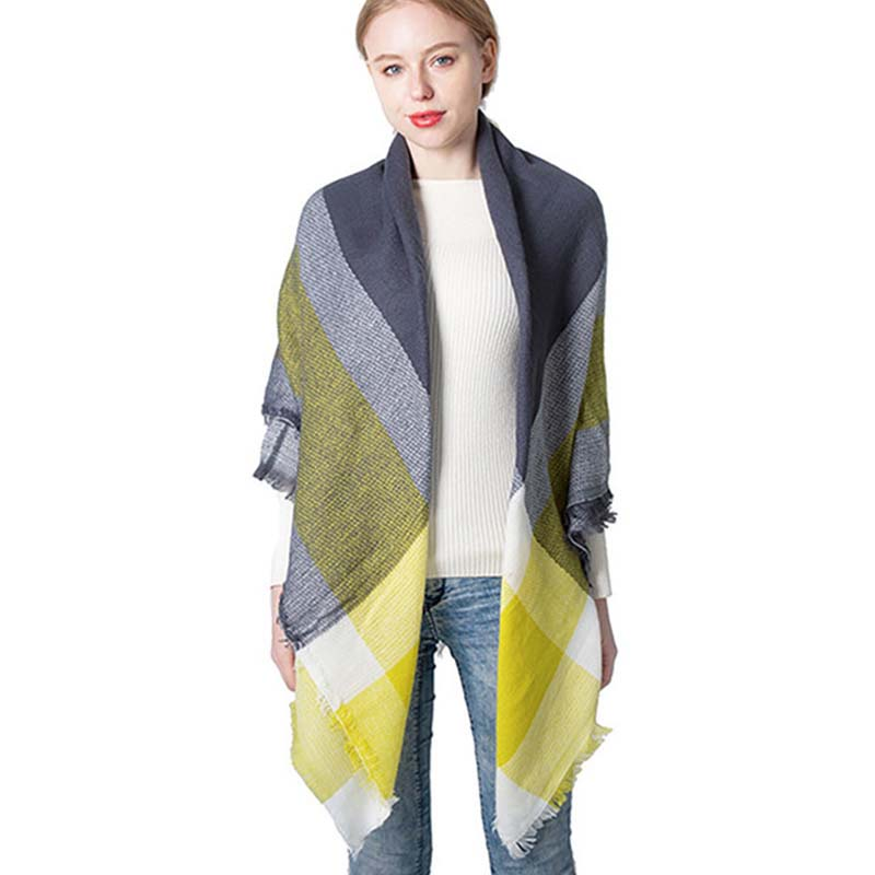 2020 autumn and winter new yellow-grey imitation cashmere large plaid square scarf scarf female plus double-sided shawl  A28