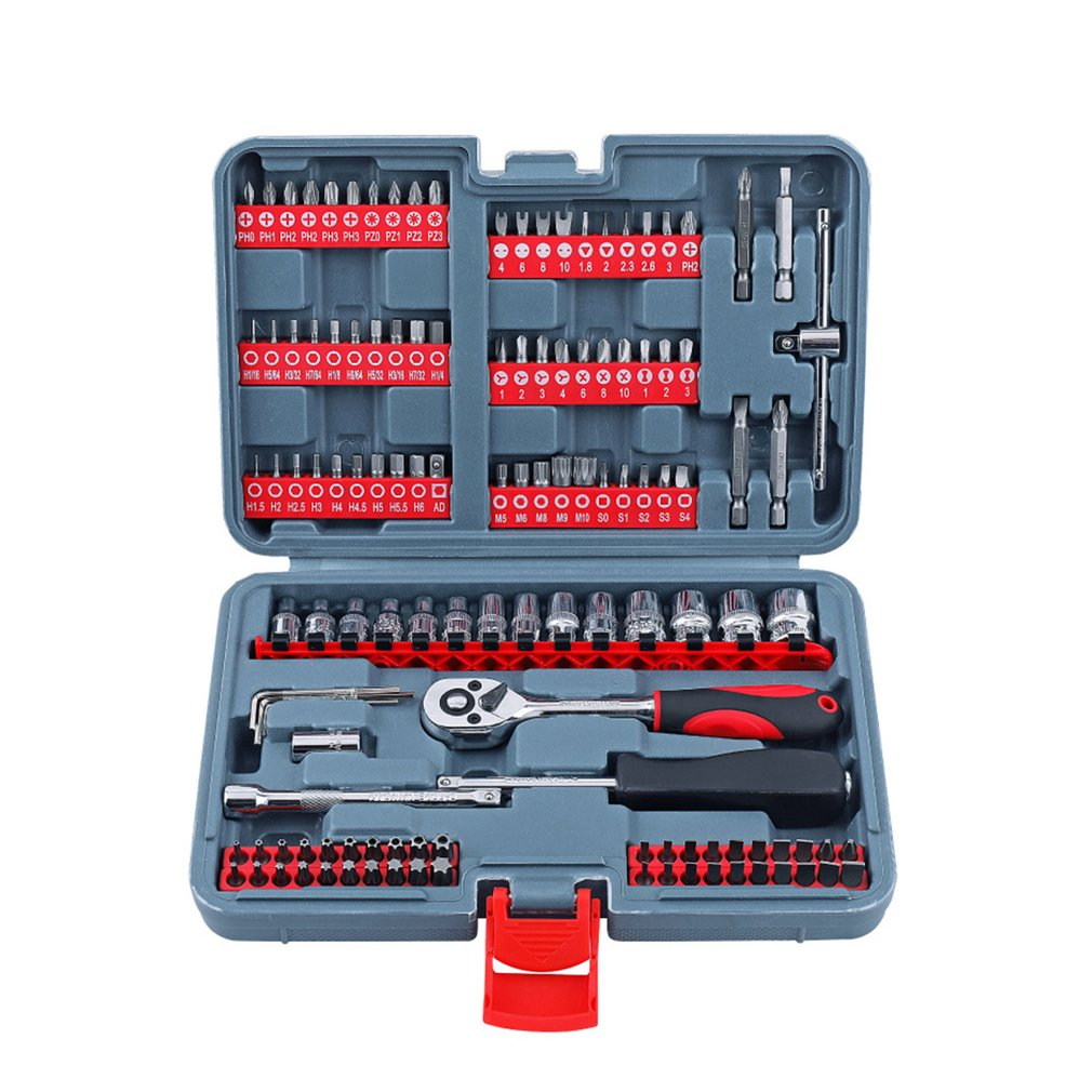 126PCS 1/4 Auto Repair Kit Batch Head Screwdriver Head Set Chrome Vanadium Steel Socket Ratchet Wrench Combination Repair Tool