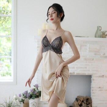 Sleep Wear Lace Silk Lingerie Nightgown Sexy Sleepwear Night Dress Ropa Sexy Para El Sexo Womens Clothing Lingere