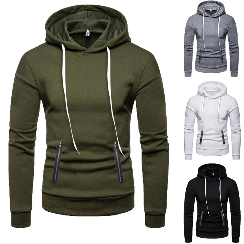 Hoodie Mens Zipper Pure Color Pullover Long Sleeve Hooded Sweatshirt Tops Blouse Stranger Things Streetwear High Quality