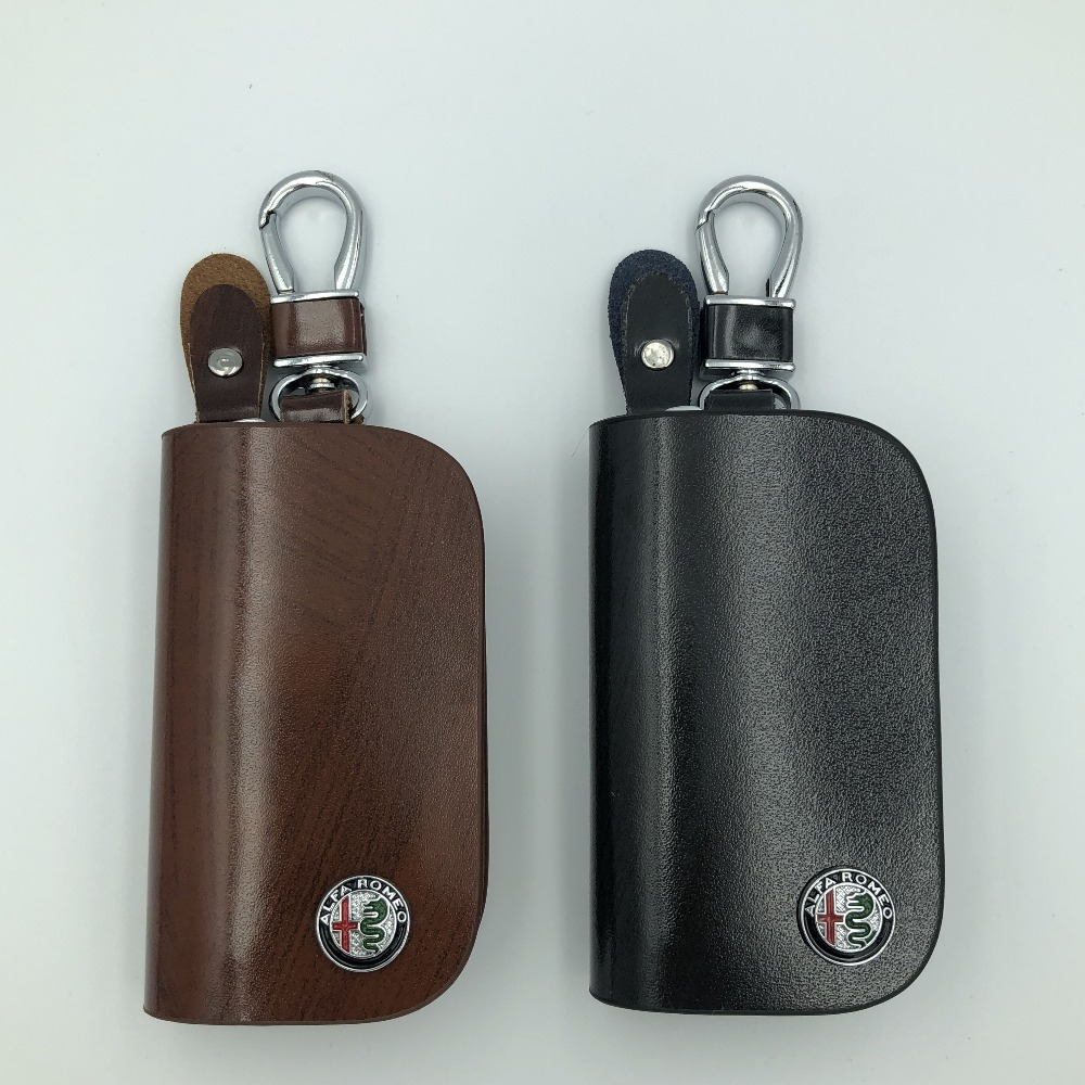 Genuine Leather Zipper Bag Key Case Holder Cover fit for Mazda Flip Remote Key 3 Button Brown