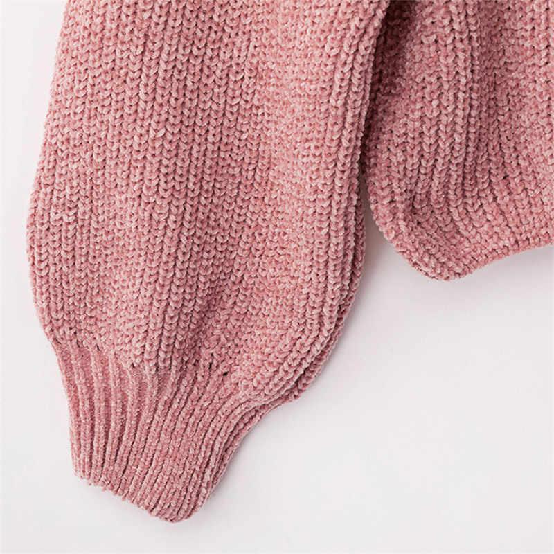 Forefair Повседневный свитер с высоким воротом женские зимние вязаные пуловеры с рукавами-«фонариками» короткий черный белый вязаный однотонный джемпер для женщин