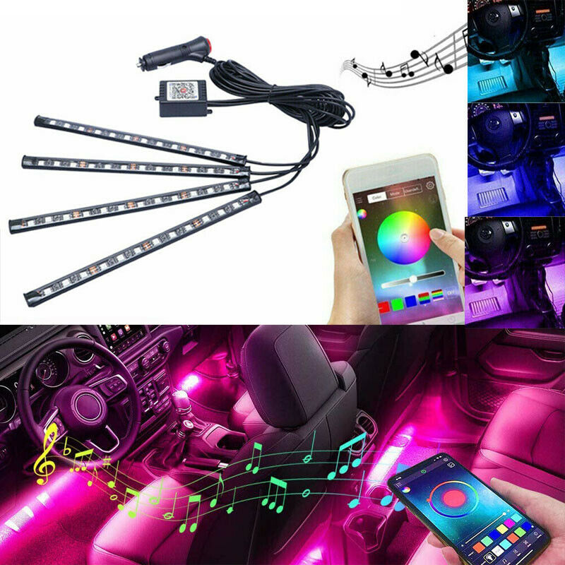 Newly Car Led RGB Lights With Atmosphere Phone Application Music Control Interior Kit Car Voice Controlled Atmosphere Light