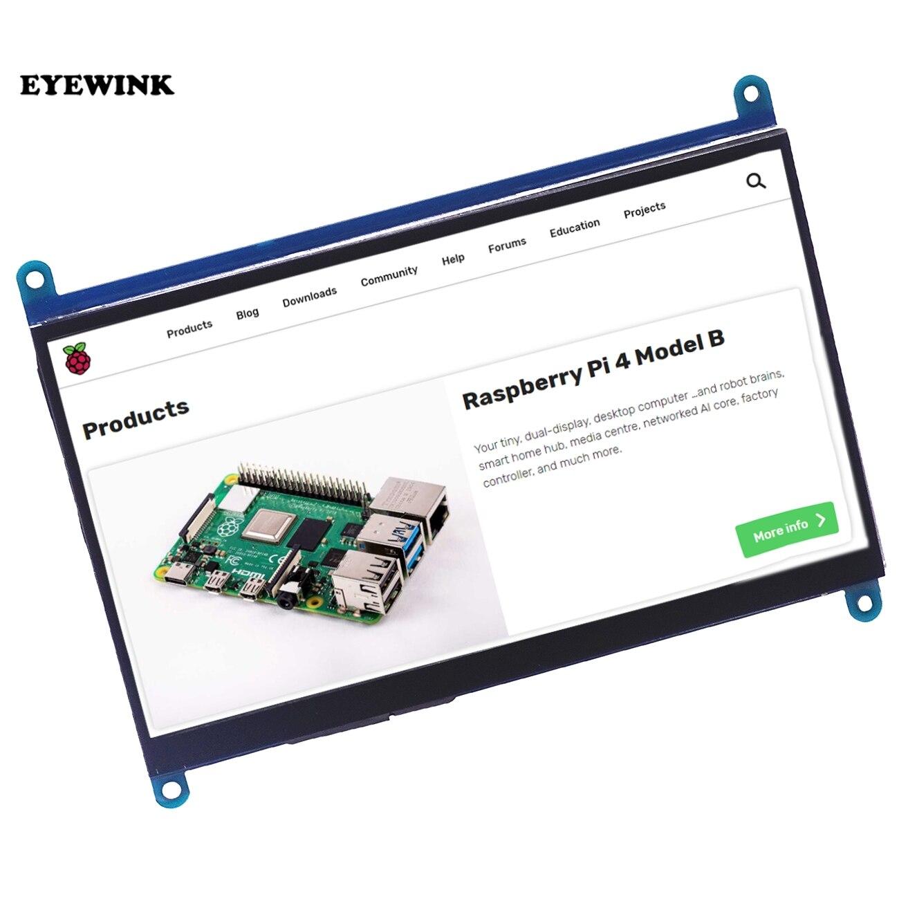 Painel de toque capacitivo de 7 polegadas, tela lcd tft ips 1024*600 para raspberry pi 3 b +/4b