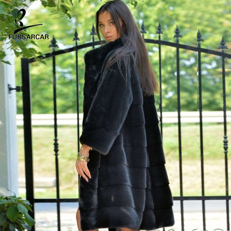 FURSARCAR 2019 Whole Skin Black Women Real Mink Fur Long Jacket And Coat For Female Genuine Natural Winter Trench Outwear Luxury
