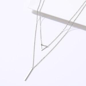 DOTIFI женское ожерелье, двойная подвеска, треугольник и палочка, кулон из нержавеющей стали, креативные ювелирные изделия