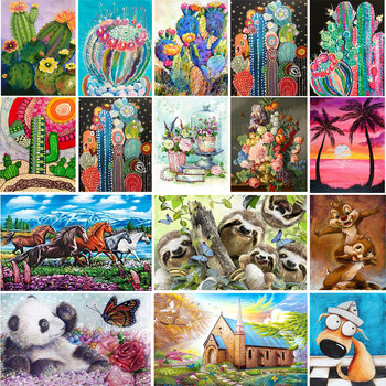 Scenery tree landscape village train DIY Crystal full drill square 5D diamond painting cross stitch kit mosaic round rhinestone image
