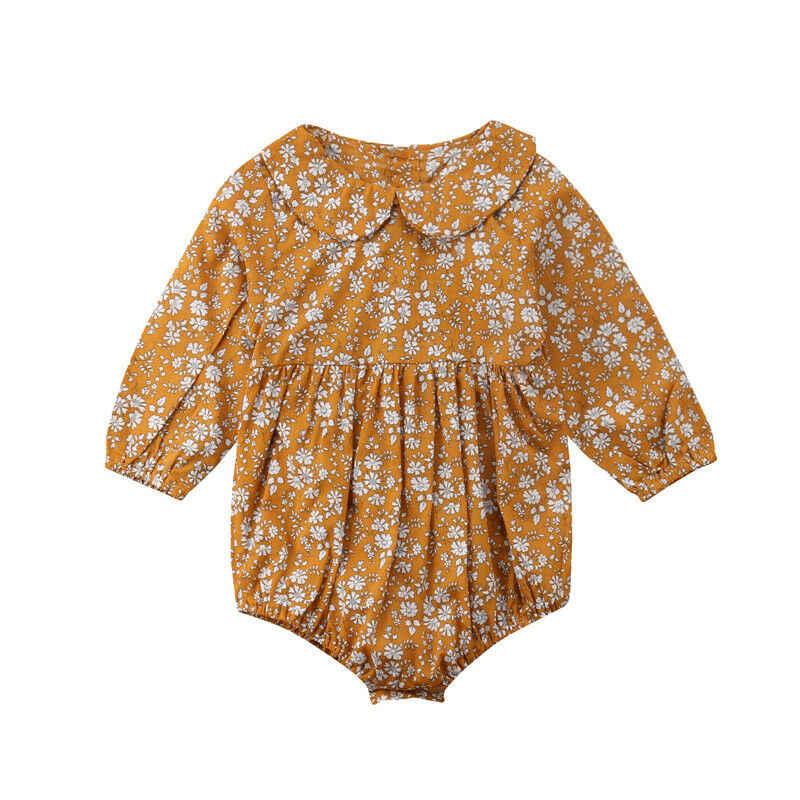 Комбинезон с длинными рукавами и цветочным рисунком для новорожденных девочек; весенне-осенняя одежда с лацканами