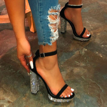 Summer Women Sandals Rhinestone Thick High Heels Fashion Woman Shoes