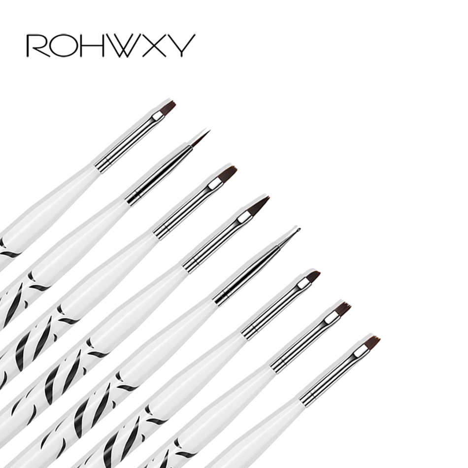 ROHWXY 8 ชิ้น/เซ็ตพิมพ์เล็บปากกาเล็บอะคริลิคแปรง UV เจลแปรงเล็บแปรงสำหรับเล็บ Pinceau เล็บ art Pincel