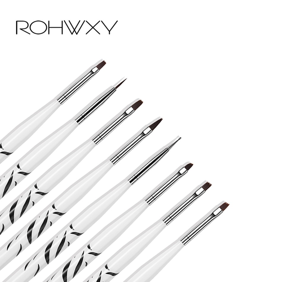 ROHWXY 8pcs/set Nail Print Pen Acrylic Nail Art Brush UV Gel Brush Nail Art Brushes For Manicure Pinceau Nail Art Pincel