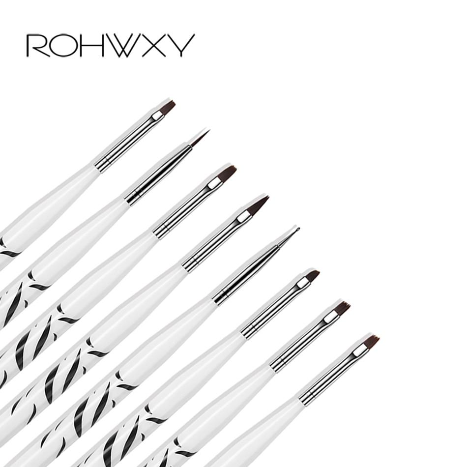 ROHWXY 8pcs/set Nail Print Pen Acrylic Nail Art Brush UV Gel Brush Nail Art Brushes For Manicure Pinceau Nail Art Pincel