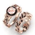 FDLK 2020 Neue Design Frauen Rose Gold Blume Verlässt Eingelegte Pulver Zirkon Ring Braut Engagement Hochzeit Schmuck Ring Set