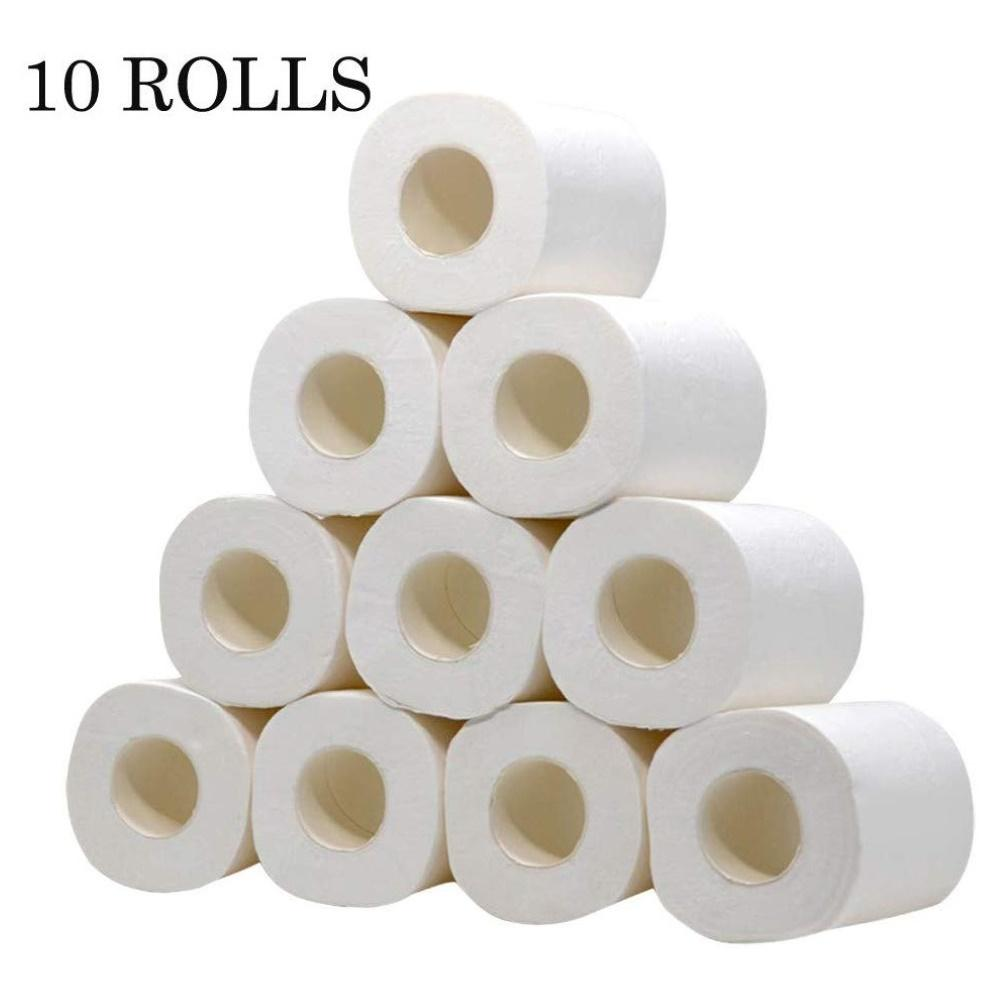 10 Rolls 3 Ply Soft Toilet Paper Bathroom Living Room Kitchen Home Household Tissue Individually Wrapped Tissue Washable Tissue