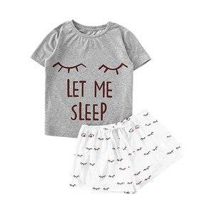Женские пижамные костюмы, Женские Повседневные Шорты Для кота, футболка с рюшами и коротким рукавом, комплект одежды для сна, женская одежда, пижамный комплект 2020 Комплекты пижам      АлиЭкспресс