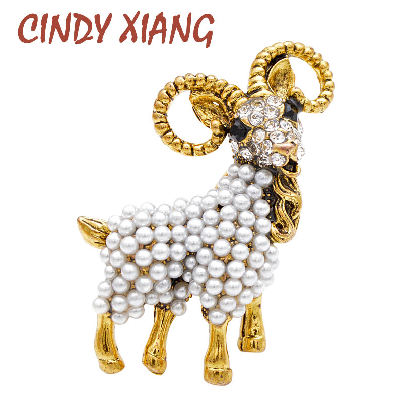 CINDY XIANG Pearl Goat Brooch Vintage Fashion Unisex Animal Pin Autumn Coat Brooches Women And Men Jewelry Good Gift