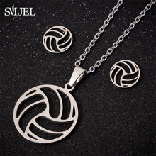Smjel Stainless Steel Geometric Ball Necklace Personalized Hollow Volleyball Earrings Jewelry Set Women 2019