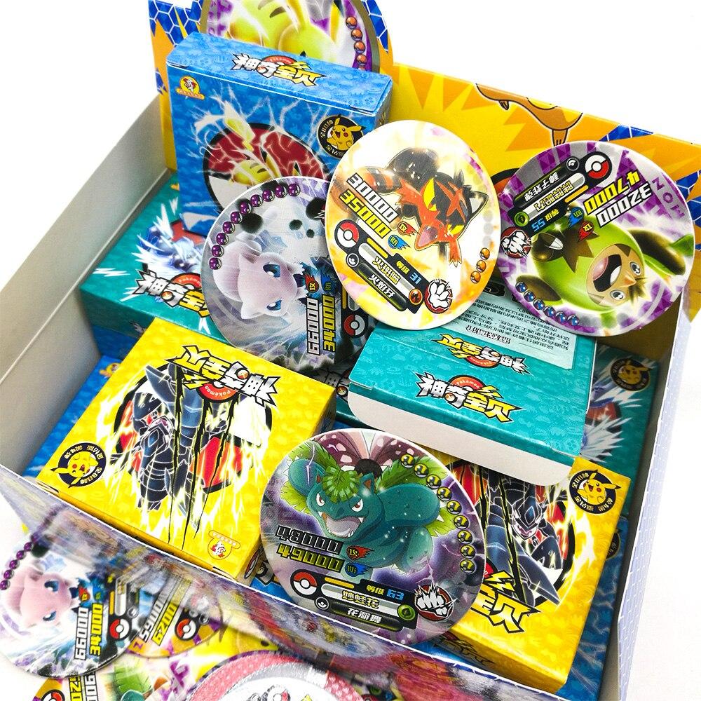 TAKARA TOMY jouets 288 pièces brillant Pokemon cartes rondes Collections Pikachu carte Flash 12 pièces/boîte 24 box/ensemble jeu de société pour enfants cadeau