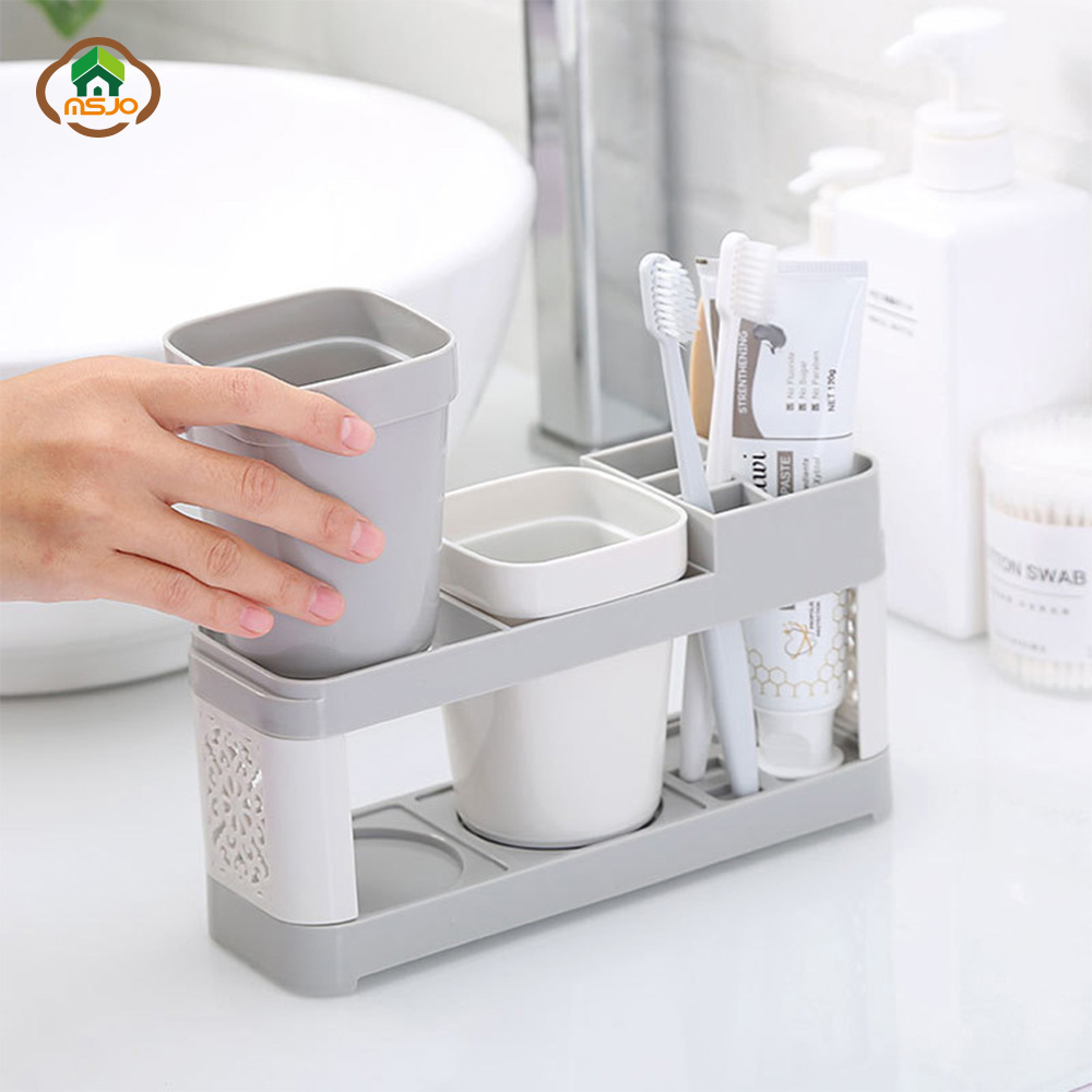MSJO Toothbrush Toothpaste Holders Cup Couple Bathroom Set Mouthwash Toothbrush Cup Plastic Teeth Brush Holder Organizer Storage image
