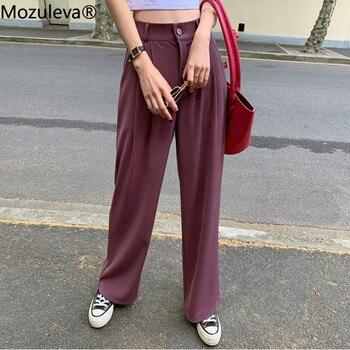Mozuleva  Plus Size High Waist Suit Pants Women Casual Loose Straight Wide Leg Pants 2020  OL Female Trousers Pantalon Mujer