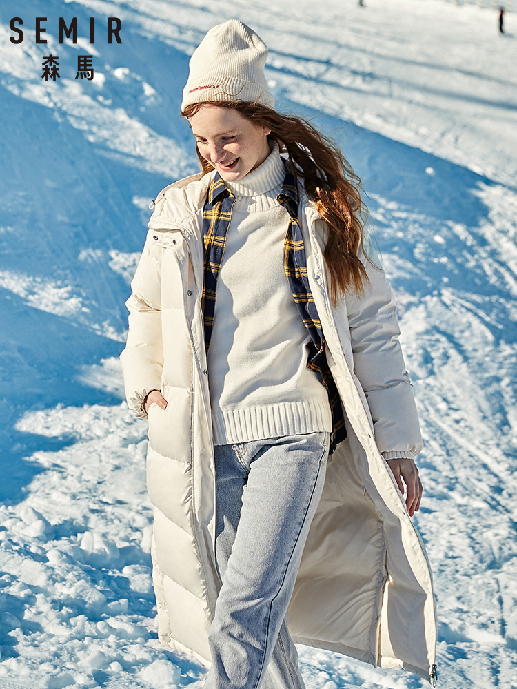 SEMIR 2019 Winter New Down Jacket Women Long Paragraph Over Knee Loose Thick Long Hooded Warm Winter Coat Woman