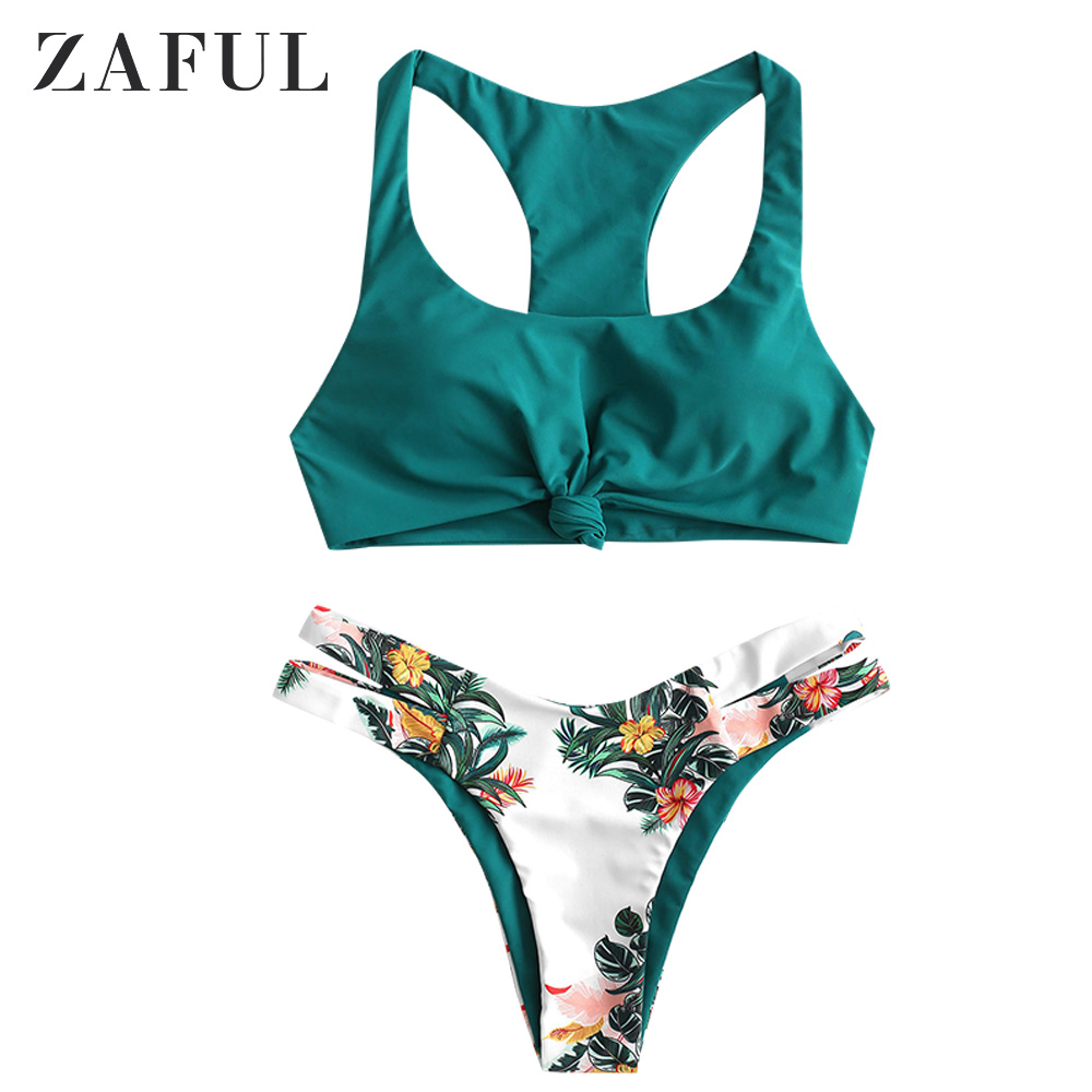 ZAFUL Plant Print Knot Cutout Racerback Bikini Swimsuit Wire Free Scoop Neck Removable Padded Racer Bikini Two-Piece Sexy