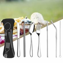 Spoon Cutlery Drinking-Utensils-Set Travel Portable Knife-Fork Stainless And Stell 7piece