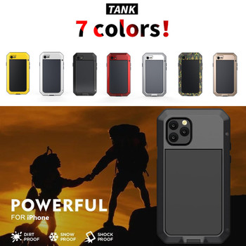 Tempered glass+Metal Aluminum armor phone Case for iPhone 11 Pro XS MAX XR X 7 8 6 6S Plus 5S 5C 5 SE Full Body Shockproof Cover 1