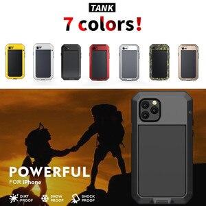 Image 2 - Armadura à prova de choque de Metal de Alumínio Caso de telefone para o iphone 11 XS Pro MAX XR X 7 8 6 6S Plus 5S 5 SE 2020 Bumper Capa de Proteção Integral