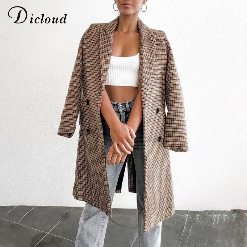 DICLOUD Khaki Women Plaid Jacket Long Sleeve Fashion Warm Blazer With Pockets 2019 Autumn Winter Jackets Office Lady Clothing