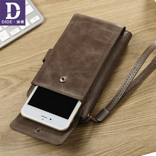 DIDE High Capacity Cell Phone Wallet Male Genuine Leather Wallets Back Zipper Coin Purse Clutch Bag Wallet Card Holder Men цена