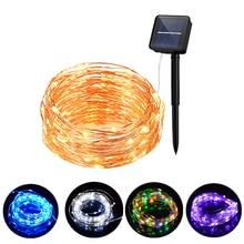Светодиодная уличная гирлянда на солнечной батарее, медный провод, волшебная лампа на солнечной батарее для рождества, двора, патио, сада, водонепроницаемое украшение