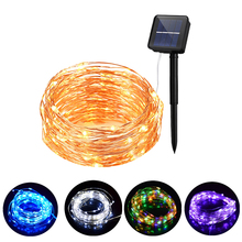Solar Christmas Lights Copper Wire LED String Fairy Lights With Solar Panel Lamp luminaria For Garden Decoration
