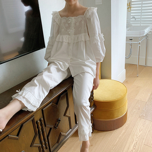 Image 5 - Womens Lolita Square Collar Pajama Set.Ruffles Embroidered Tops+Long Pants.Vintage Pyjamas Set.Victorian Sleepwear Loungewear