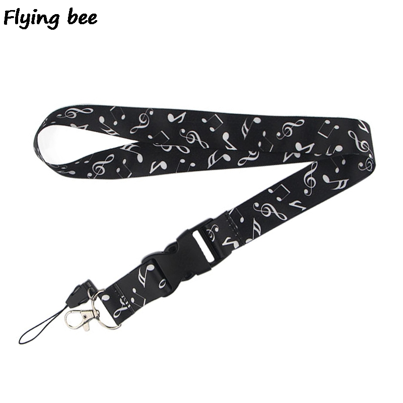 Flyingbee Beat The Melody Lanyard Phone Rope Keychains Phone Lanyard For Keys ID Card Cartoon Lanyards For Men Women X0471