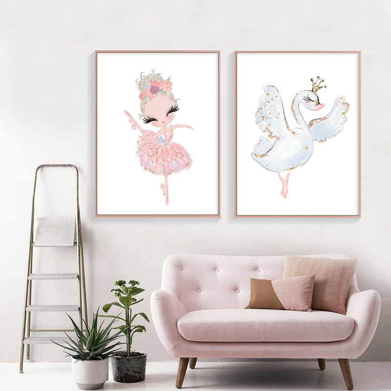 Pink Swan Princess Nursery Wall Art Canvas Painting Ballerina Posters and Prints Nordic Kid Baby Girl Room Decor Picture