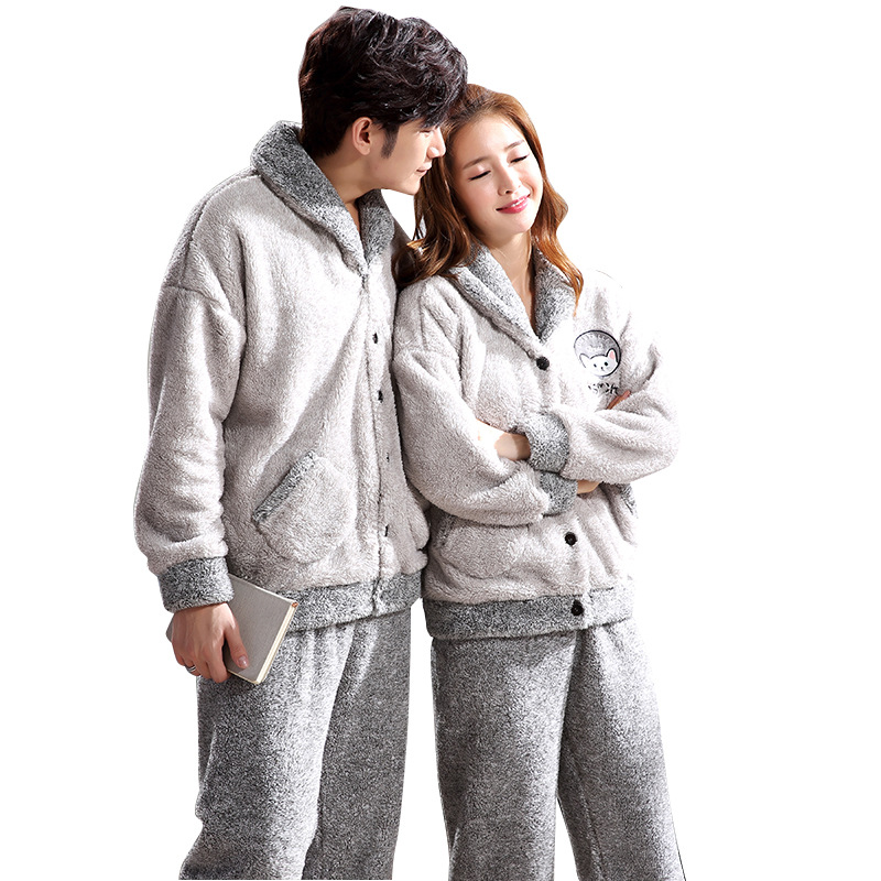 Autumn/winter Couples Pajamas Ladies Flannel Men Winter/fleece/thick Pajama Suit