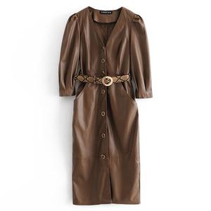 RR Brown V Neck Dresses Women Fashion Tie Belt Waist Dress Women Elegant Three Quarter PU Leather Dresses Female Ladies IN
