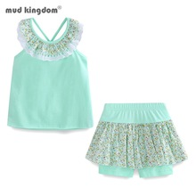 Mudkingdom Floral Summer Girls Outfits Backless Flower Cold Shoulder Tops and Skirted Short Clothes Set for Girls Beach Holiday