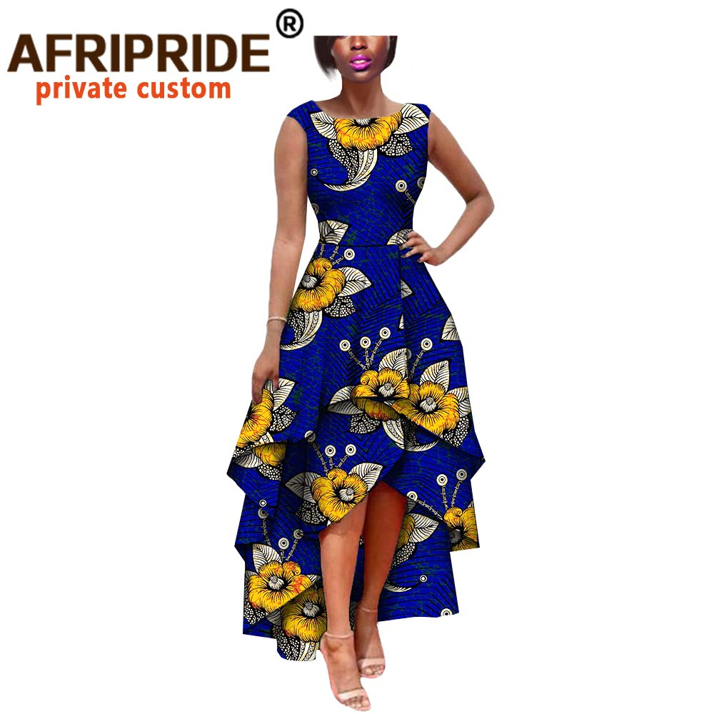 Купить с кэшбэком hot sale african dress for women AFRIPRIDE private custom sleeveless pleated party dress 100% pure wax cotton A722582