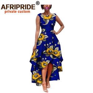 Image 5 - hot sale african dress for women AFRIPRIDE private custom sleeveless pleated party dress 100% pure wax cotton A722582