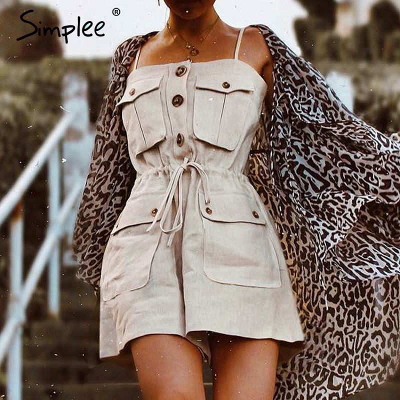 Simplee Casual strap women   jumpsuit   romper Pockets lace up cotton female playsuit Vintage loose solid overalls cargo   jumpsuit