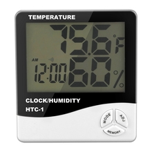 цена на Digital LCD Indoor Outdoor Room Electronic Temperature Humidity Meter Thermometer Hygrometer Weather Station Alarm Clock
