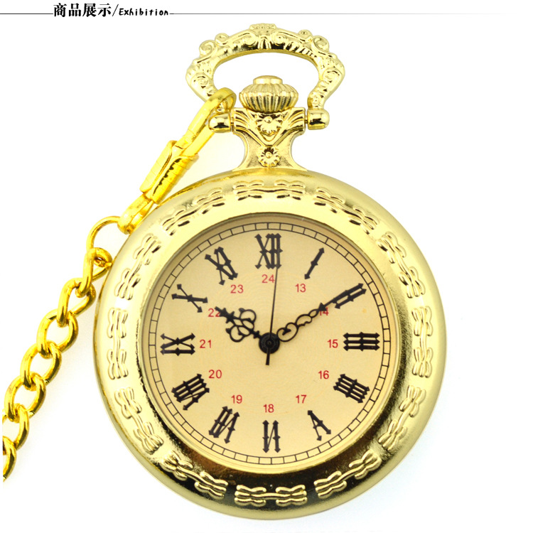Retro Luxury Gold Quartz Pocket Watch Steampunk Vintage Pocket & Fob Watches with Fob Watch with Chain Gift for men Fob Watch